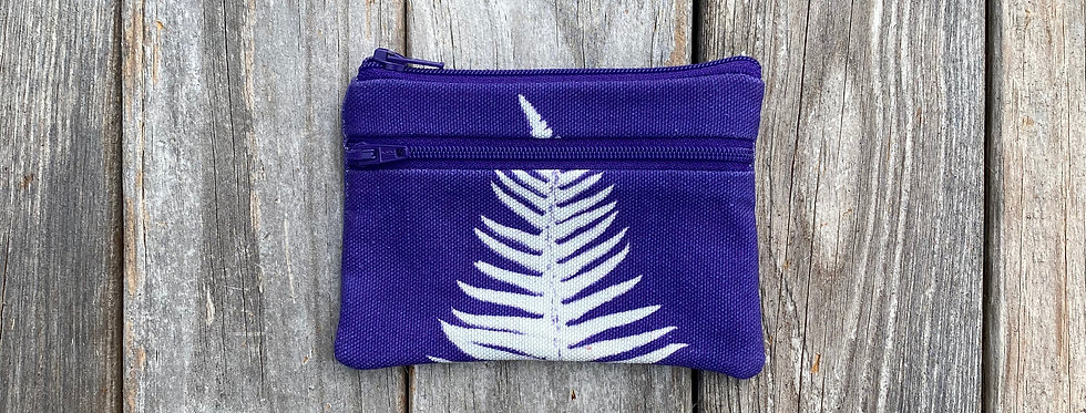 Small Double Zipper Pouch in Purple with Sword Fern Design