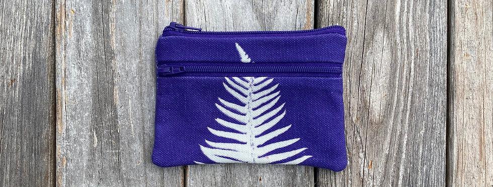 Small Double Zipper Pouch in Purple with Sword Fern Design