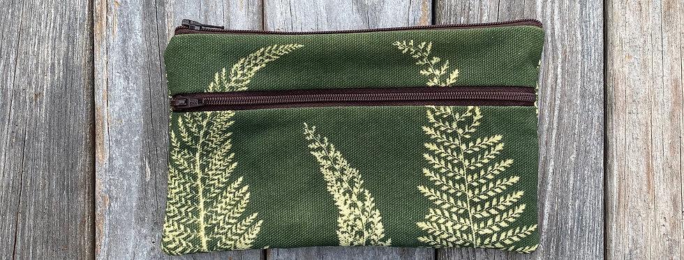 Long Double Zipper Pouch in Green with Alaskan Fern Design
