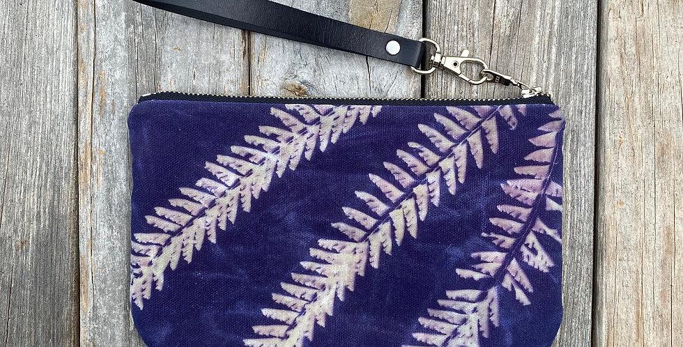 Waxed Sunprint Canvas Clutch Wristlet in Purple with Maidenhair Fern Design