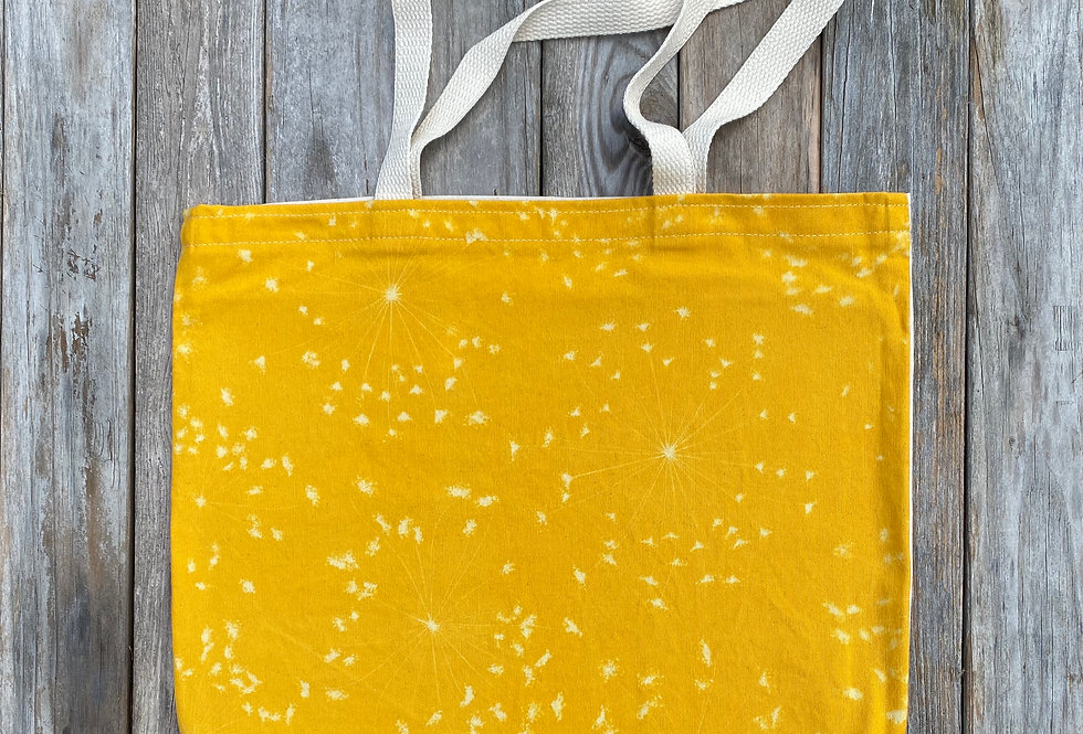 Tote Bag in Yellow with Queen Anne's Lace Design