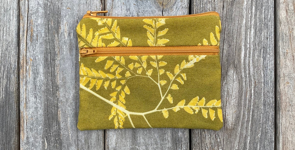 Large Double Zipper Pouch in Avocado Green with Western Maidenhair Fern Design