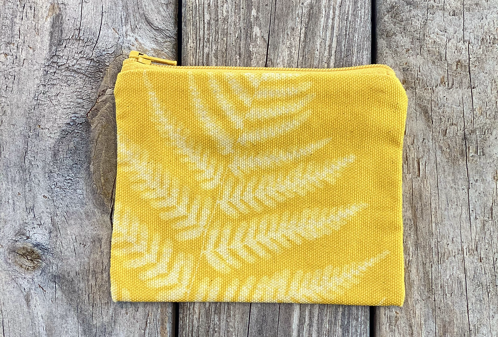 Small Zipper Pouch in Yellow with Autumn Fern Design