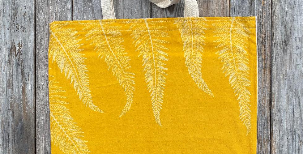Tote Bag in Yellow with Alaskan Fern Design
