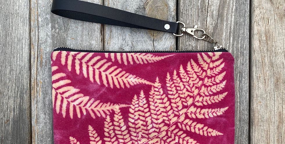 Waxed Sunprint Canvas Clutch Wristlet in Fuchsia Pink with Fern Des