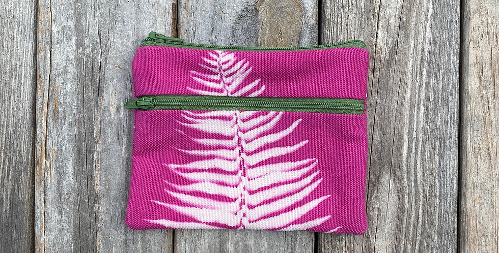Large Double Zipper Pouch in Fuchsia Pink with Sword Fern Design