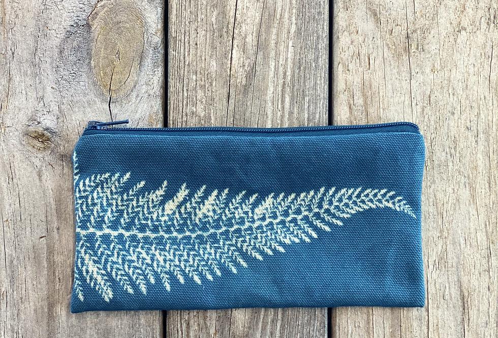 Long Zipper Pouch in Sky Blue with Alaskan Fern Design