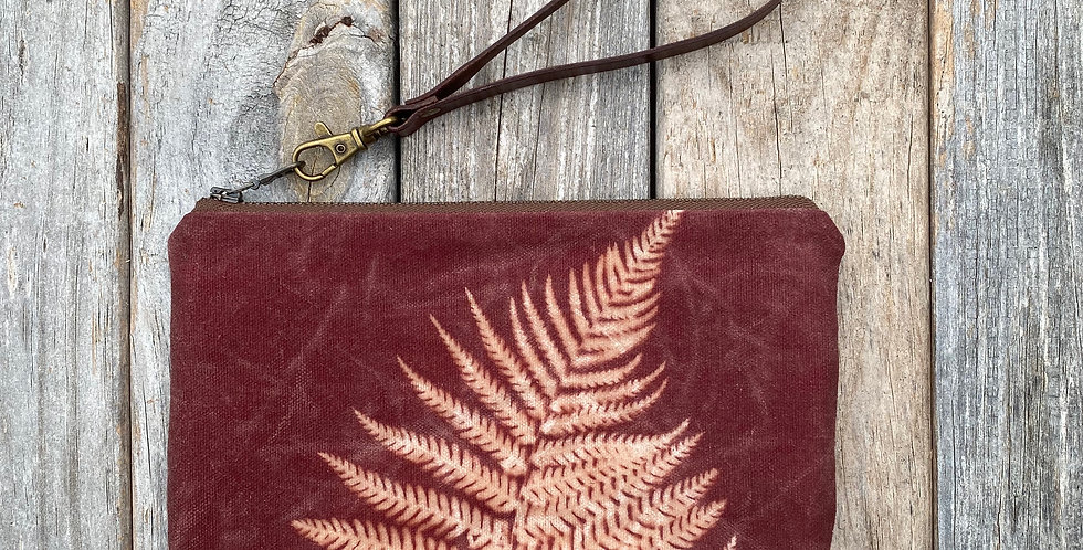 Waxed Sunprint Canvas Clutch Wristlet in Brown with Lady Fern Des