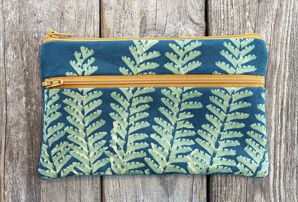 Long Double Zipper Pouch in Sly Blue with Maidenhair Fern Design