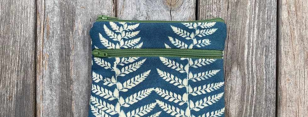 Large Double Zipper Pouch in Sky Blue with Shield Fern Design