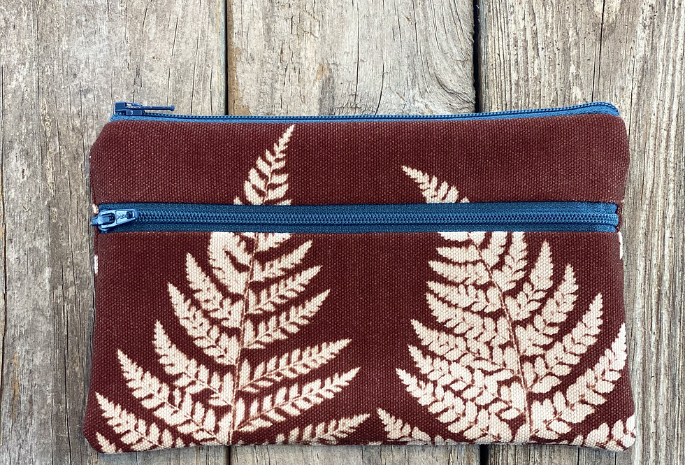 Long Double Zipper Pouch in Brown with Shield Fern Design