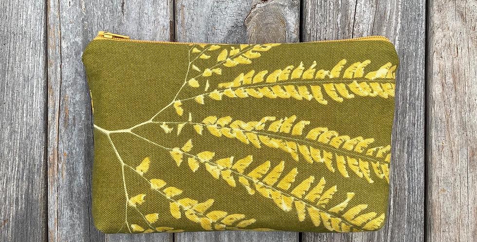 Cosmetics Pouch in Avocado Green with Western Maidenhair Fern Design