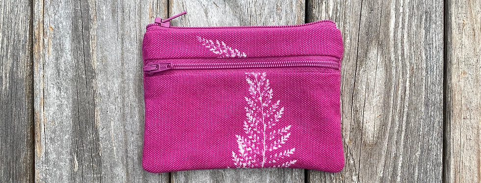 Small Double Zipper Pouch in Fuchsia Pink with Alaskan Fern Design