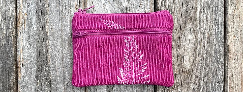 Small Double Zipper Pouch in Fuchsia Pink with Alaskan Fern Design