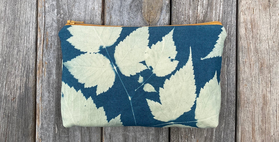 Cosmetics Pouch in Sky Blue with Salmonberry Leaf Design