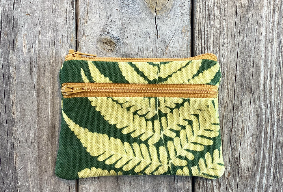 Small Double Zipper Pouch in Green with Autumn Fern Design