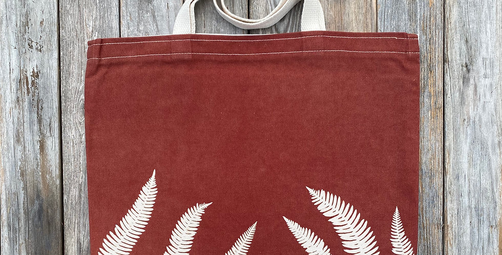 Tote Bag in Brown with Deer Fern Design