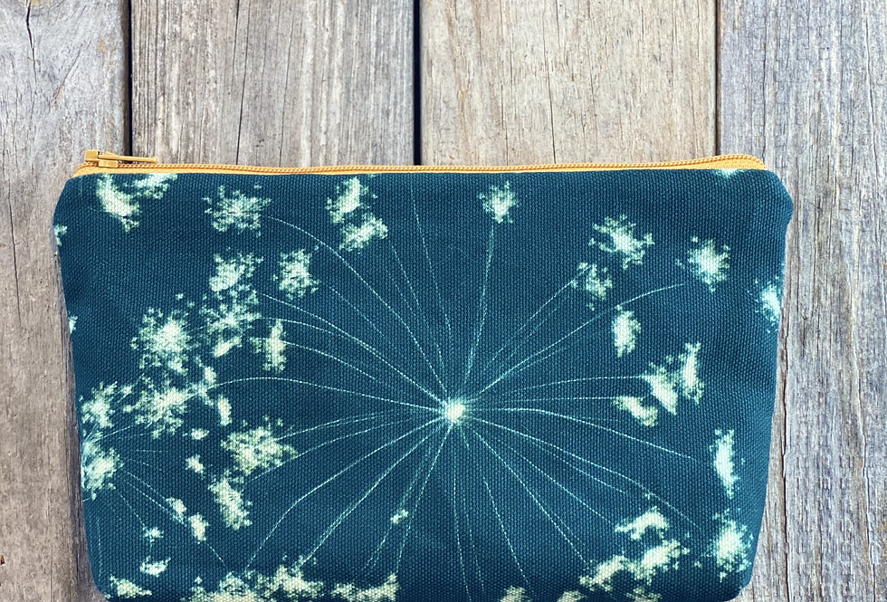 Cosmetics Pouch in Teal Blue with Queen Annes Lace Flower Design