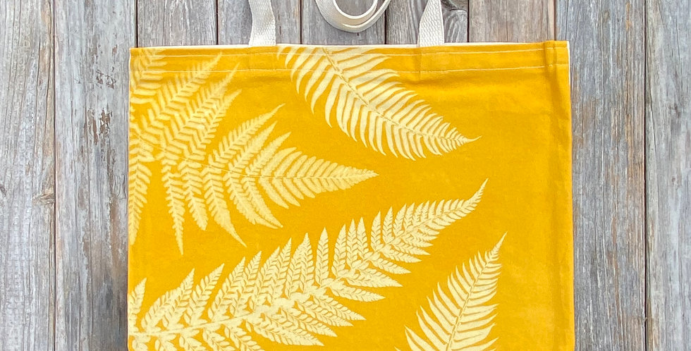 Tote Bag in Yellow with Multiple Fern Design