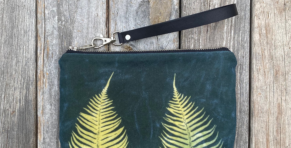 Waxed Sunprint Canvas Clutch Wristlet in Teal Blue with Sword Fern Des