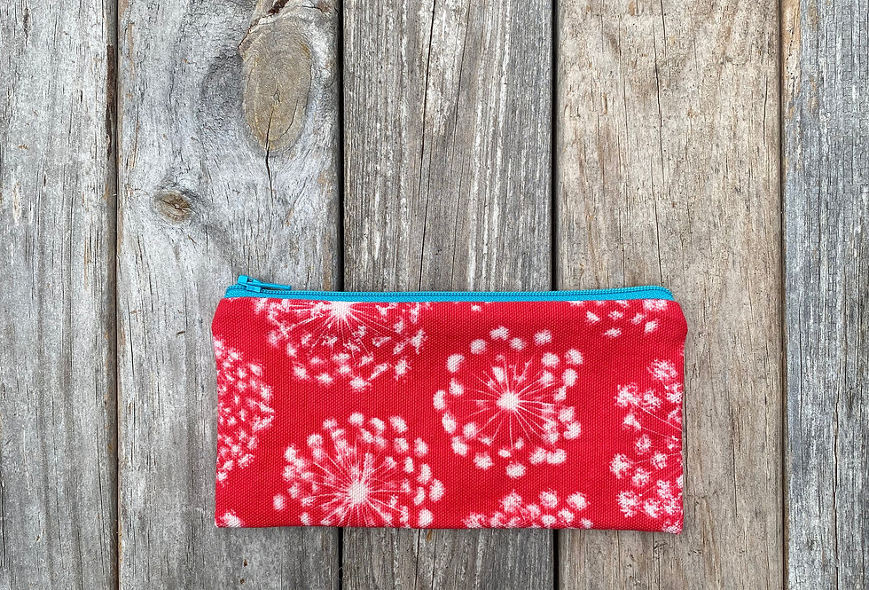 Long Zipper Pouch in Red with Queen Anne's Lace Flower Design