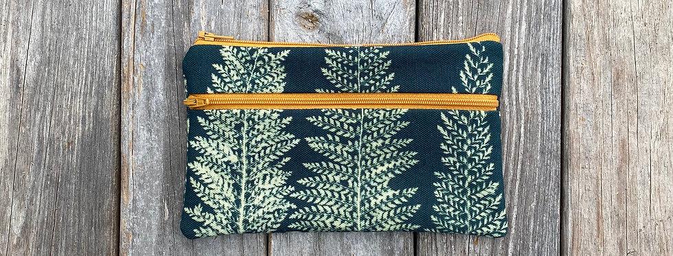 Long Double Zipper Pouch in Teal with Alaskan Fern Design