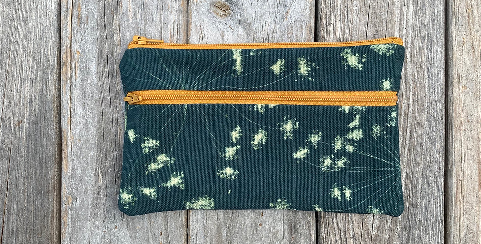 Long Double Zipper Pouch in Teal Blue with Queen Anne's Lace Design