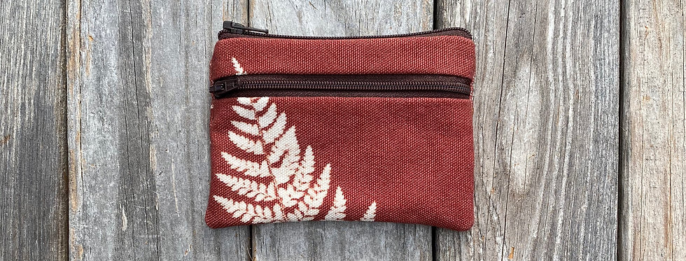 Small Double Zipper Pouch in Brown with Shield Fern Design