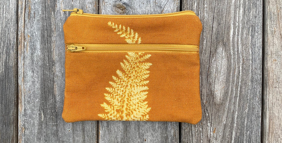 Large Double Zipper Pouch in Amber with Alaskan Fern Design