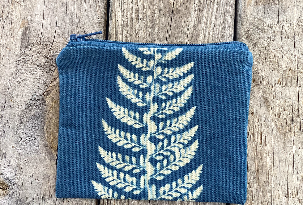 Small Zipper Pouch in Sky Blue with Shield Fern Design