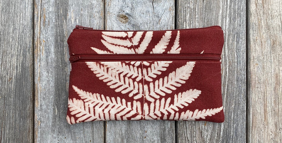 Long Double Zipper Pouch in Brown with Autumn Fern Design