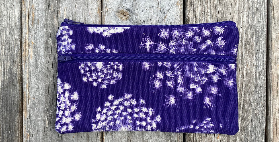 Long Double Zipper Pouch in Purple with Queen Anne's Lace Design