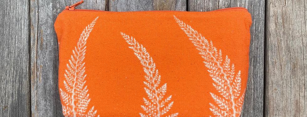 Cosmetics Pouch in Orange with Alaskan Fern Design