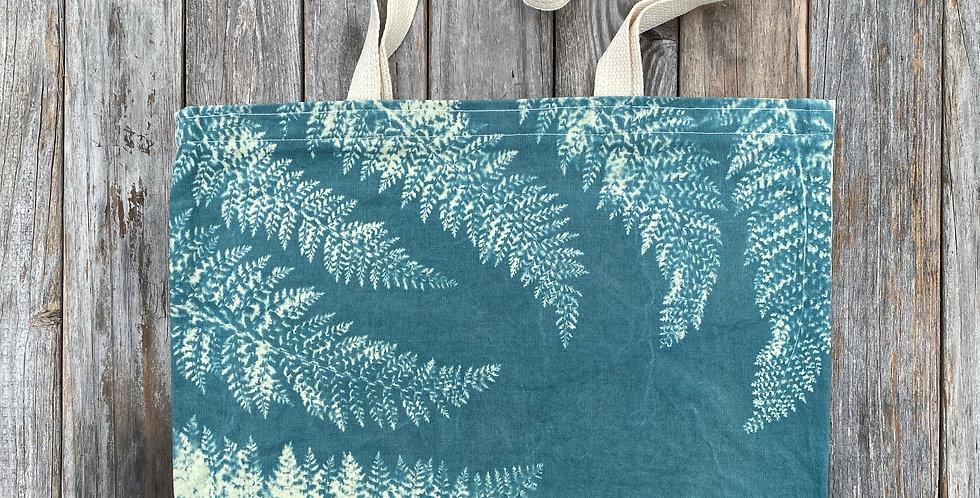 Tote Bag in Sky Blue with Alaskan Fern Design