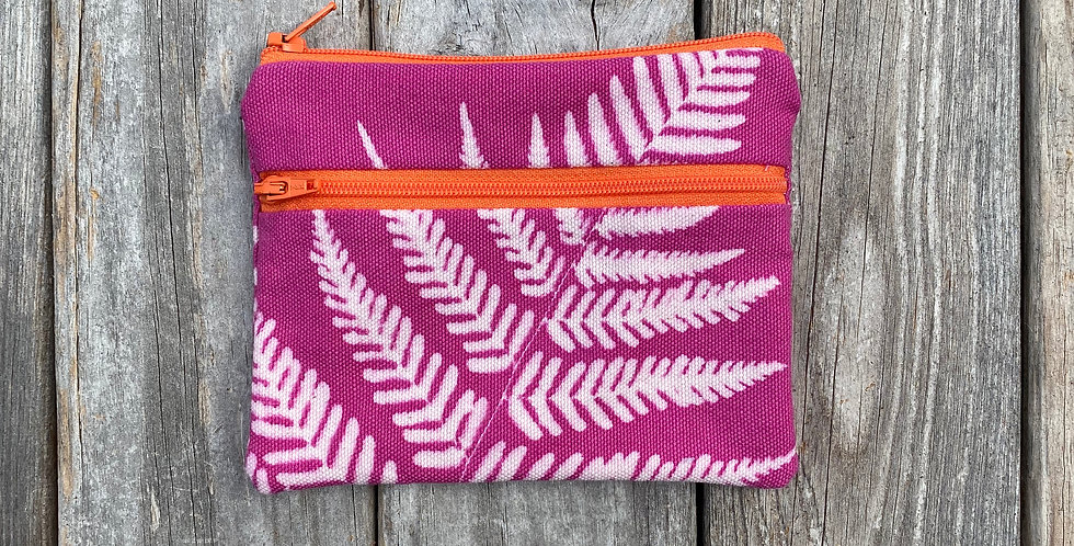 Large Double Zipper Pouch in Fuchsia Pink with Autumn Fern Design