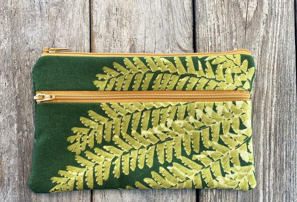 Long Double Zipper Pouch in Green with Western Maidenhair Fern Design