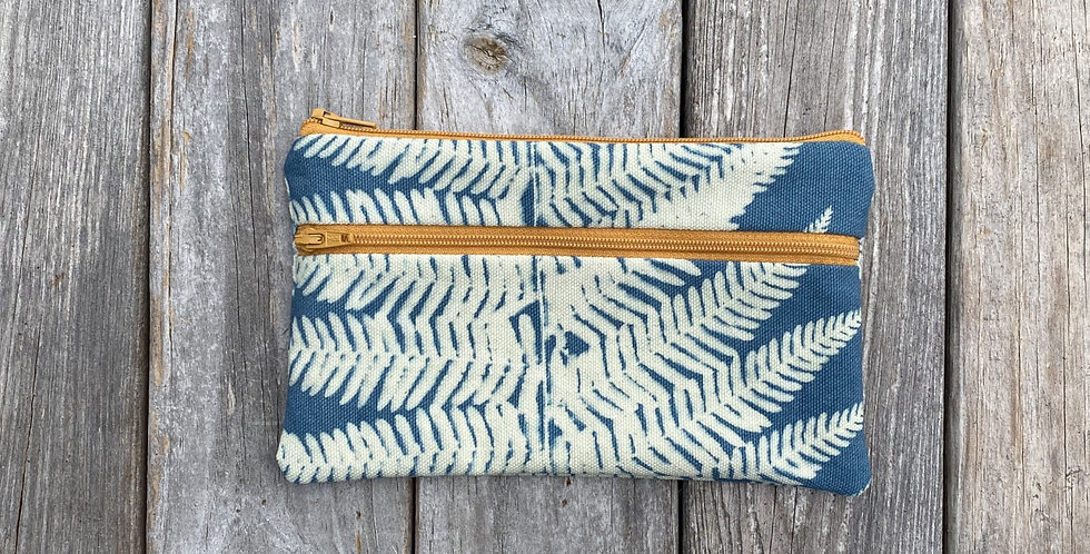 Long Double Zipper Pouch in Sky Blue with Lady Fern Design
