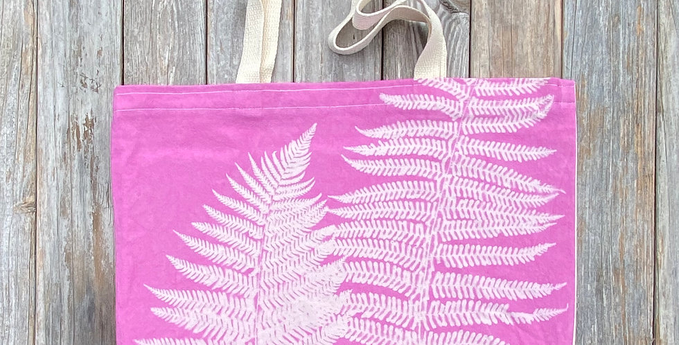 Tote Bag in Pink with Autumn Fern Design