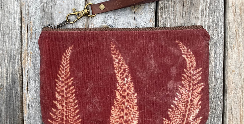 Waxed Sunprint Canvas Clutch Wristlet in Brown with Alaskan Fern Design