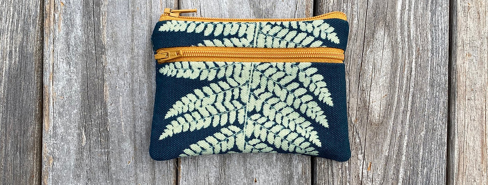 Small Double Zipper Pouch in Teal with Shield Fern Design