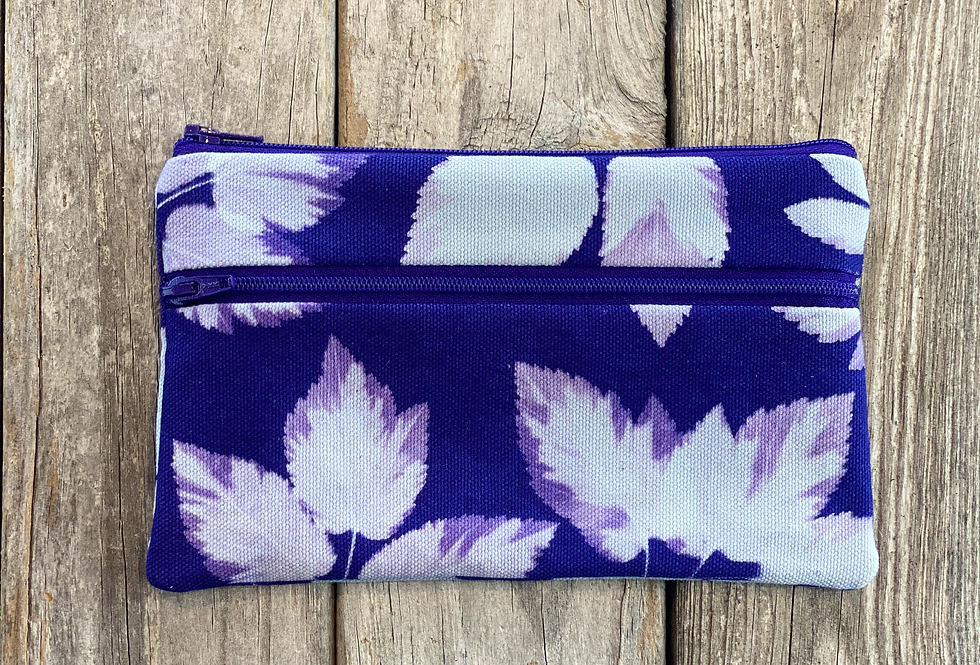 Long Double Zipper Pouch in Purple with Snow on the Mountain Leaf Design