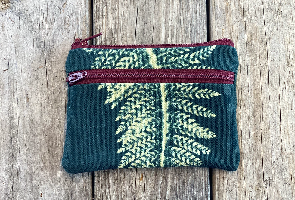 Small Double Zipper Pouch in Teal Blue with Alaskan Fern Design
