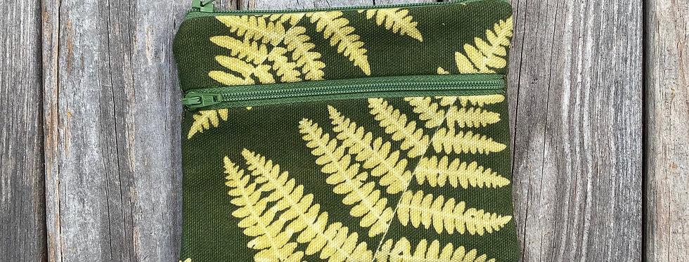 Large Double Zipper Pouch in Green with Bracken Fern Design