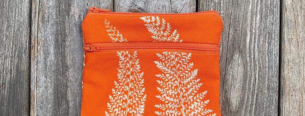 Large Double Zipper Pouch in Orange with Alaskan Fern Design