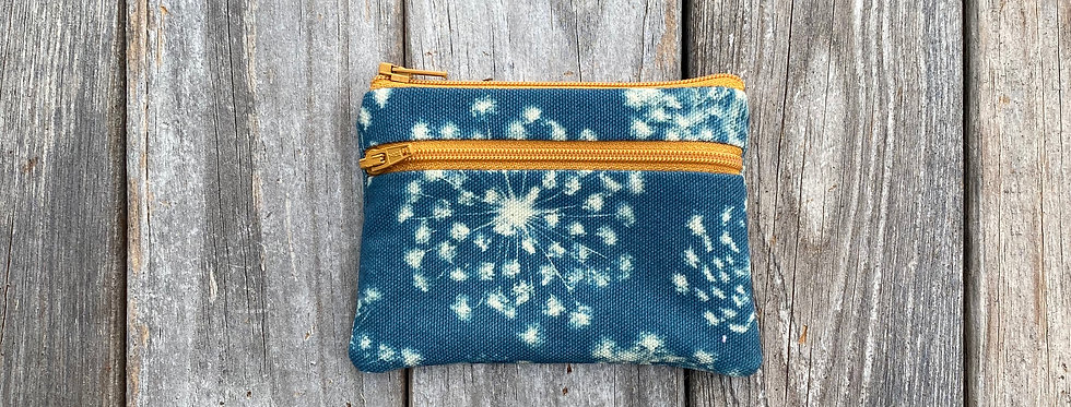 Small Double Zipper Pouch in Sky Blue with Queen Anne's Lace Design