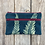 Thumbnail: Long Double Zipper Pouch in Teal Blue with Alaskan Fern Design