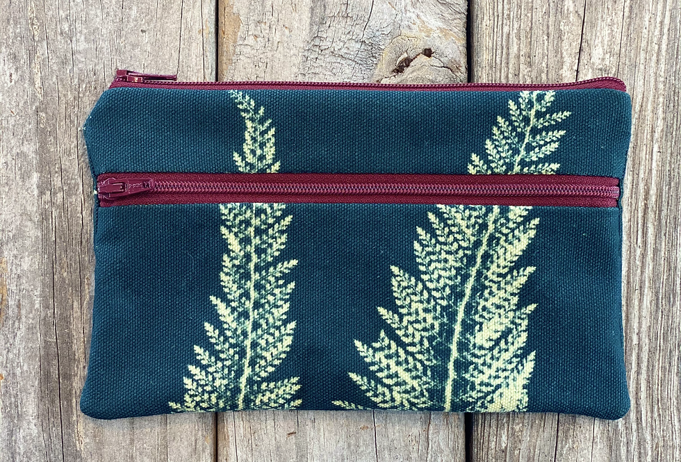 Long Double Zipper Pouch in Teal Blue with Alaskan Fern Design