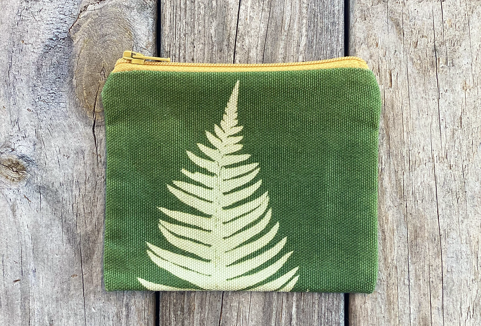 Small Zipper Pouch in Green with Sword Fern Design