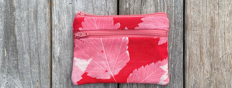 Small Double Zipper Pouch in Red with Salmonberry Leaf Design
