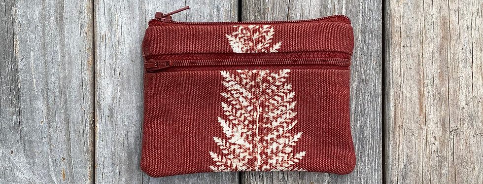 Small Double Zipper Pouch in Brown with Alaskan Fern Design